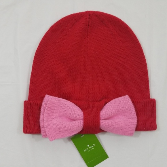 5868e7757e428 Kate Spade color block beanie hat with bow NWT